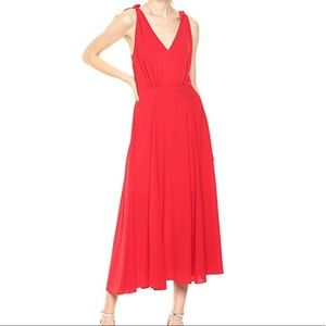 Betsy Johnstone Red Midi Dress with Shoulder Ties